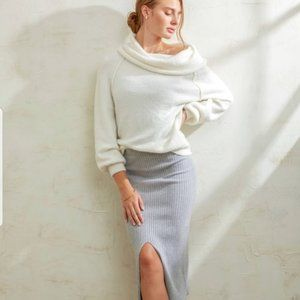 Free People Ivory Echo Beach Cowl Neck Sweater NWT